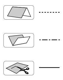 """Обозначение складок (""""гора"""" и """"впадина"""") и линии разреза"""