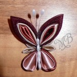 Бабочка - заколка из атласной ленты