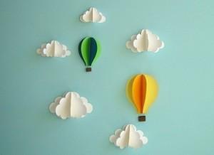 Аппликация с облаками и воздушными шарами