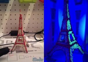 Эйфелева башня из флуоресцентного пластика