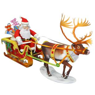 Санта Клаус, олень и сани